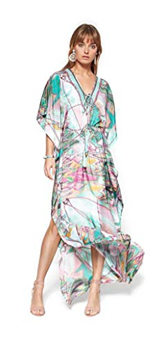Lola Casademunt Vestido Mujer Largo Fiesta Kaftan Verano Estampado Cuello V Elegante Moda Playa Tunica Boda Ligero Original Kimonos Pareos Talla S/M