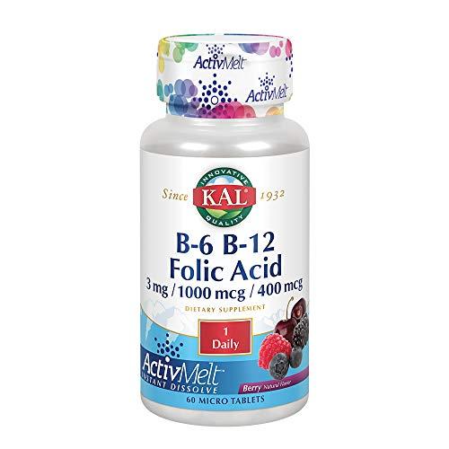 KAL B-6, B-12, Folic Acid ActivMelt | Healthy Heart & Energy Support | Natural Berry Flavor | 60 Micro Tablets, 60 Serv.