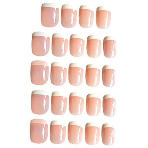SM SunniMix 24 Piezas De Uñas Postizas De Color Rosa Natural para Niñas, Puntas Cortas sobre Uñas Postizas con Pegamento Adhesivo para Uñas