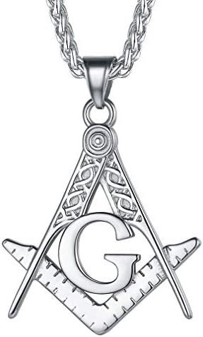FaithHeart Masonic Necklace for Men Customize Available Freemason Compass Symbol Stainless Steel product image