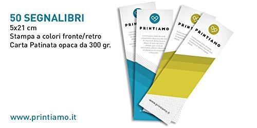 50 SEGNALIBRI PERSONALIZZABILI CARTA PATINATA OPACA 300 GR.FORMATO 5X21cm STAMPA A COLORI FRONT/RETRO