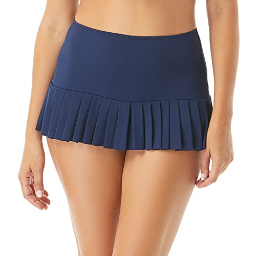 Beach House Pleated Skirted Swim Bottom — Sporty Swimsuit Skirt with Attached Bikini Bottoms, Sophie, Admiral, 6