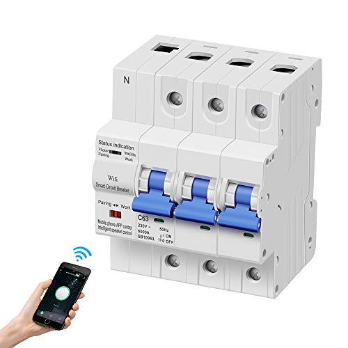 eMylo Smart WiFi Leistungsschalter 3P 63A 380-400V Miniaturschalter Schalter Automatische Wiedereinschaltung Überlastschutz Drahtlose Fernbedienung Zeitverzögerung Funktionsunterstützung Alexa/Echo