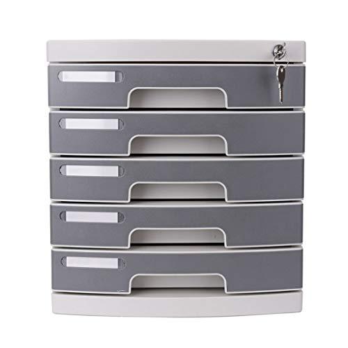 Schreibtisch Organisator/Ordner-Ablagesysteme Vier-Schicht/Fünf-Schicht-Desktop mit Sperre Aktenschrank Aktenhalter Büromaterial (grauweiß) Ablageboxen (Color : B)