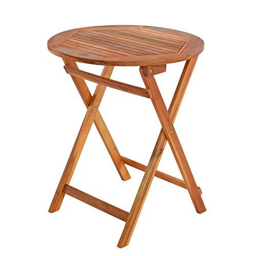 ESTEXO Balkontisch Klapptisch Holztisch Ø 60 cm Gartentisch Tisch Akazie Beistelltisch klappbar Gartenmöbel
