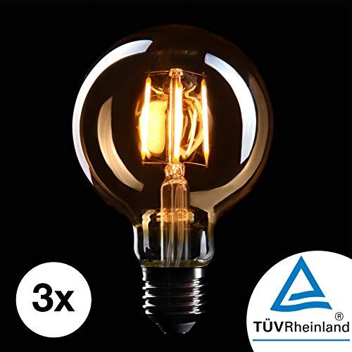 CROWN LED 3 x Edison Glühbirne E27 Fassung, Dimmbar, 4W, Warmweiß, 230V, EL04, Antike Filament Beleuchtung im Retro Vintage Look