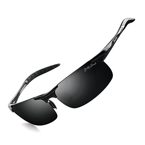 grey jack Lightweight Al-Mg Alloy Metal Half-Frame Polarized Sports Sunglasses Large for Men Women Black