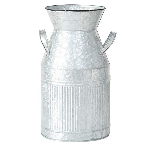 CasaJame Maison Meubles Jardin Décoration Accessoires Récipient Pot de Lait Vintage Zinc Gris 22x22x40cm