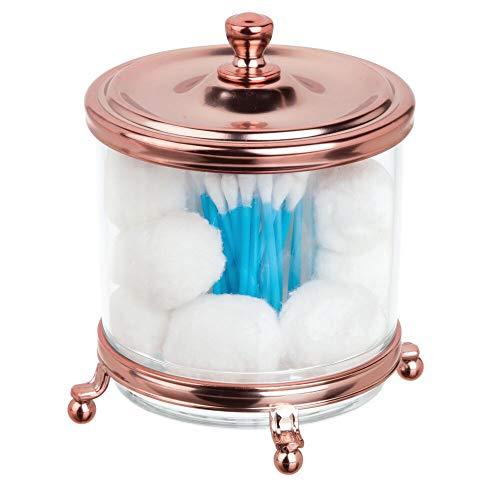 MDESIGN Wattestäbchenbehälter aus Kunststoff– Behälter für Wattepads und Wattestäbchen mit Deckel und Rahmen aus Metall – Wattespender mit doppeltem Einsatz – durchsichtig/rotgoldfarben