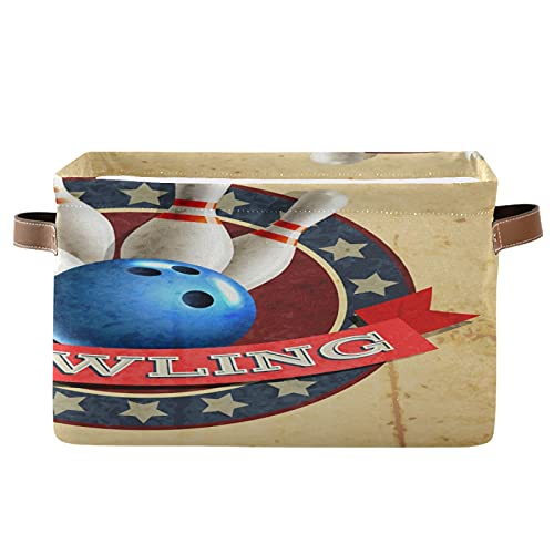 PUXUQU Bowling Sport Ball Muster Faltbare Aufbewahrungsbehälter Aufbewahrungsbox Aufbewahrungskorb mit Griff für Schrankregale Toy Office Nursery Bedroom