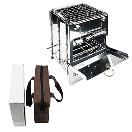Klions Folding Wood Stove Portable Outdoor Camping Stove Backpacking Wood Burning BBQ Grill Stoves Stainless Steel