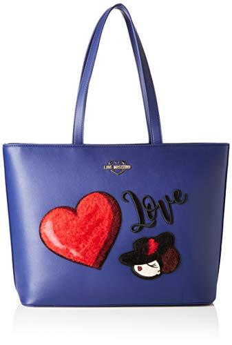 Love Moschino Unisex-Erwachsene Jc4090pp18lp0750 Tote-Bag, Blau (Blu), 30x12x43 Centimeters