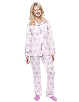 Noble Mount Womens Fleece Pajamas Set - Warm Winter PJs - Snowflakes White/Purple - Medium