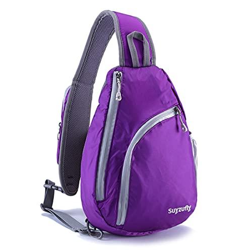 Suyzufly Kleiner Sling Rucksack für Damen und Herren, Crossbody Schultertaschen, wasserabweisend, für Reisen, Wandern, Casual Daypack - Violett - Einheitsgröße