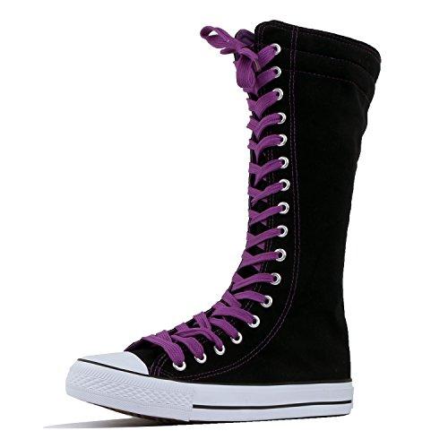 DWCanvas Sneaker - WEST-BLVD-SNEAKER Damen , Violett (Black Purple Canvas-short), 37 B(M) EU