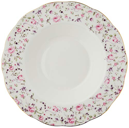 Royal Albert Rose Confetti Vintage Rim Soup/Salad Bowl, Mostly White with Multicolored Floral Print