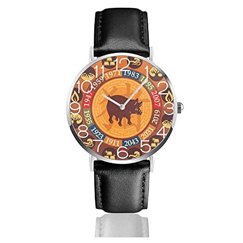 Relojes de Pulsera Chinese Zodiac Pig Chivalrous Reloj de Cuarzo con Correa de Cuero de PU para Hombre Mujer colección Regalo Unisex Informal de Negocios