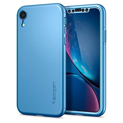 Spigen Funda iPhone XR, [Thin Fit 360] Protección Completa de 360° con el Protector de Pantalla de Vidrio Templado para iPhone XR 6.1' (2018) - [Azul] 064CS25336