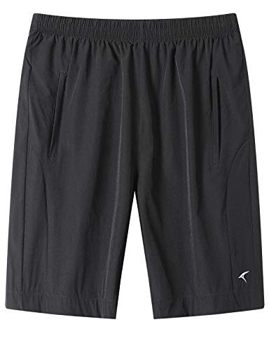 DAFENP Pantalones Cortos Hombre Deporte Running Shorts Deportivos Verano Ligero Secado Rápido Transpirable con Bolsillo con Cremallera DK1025M-Black-XL