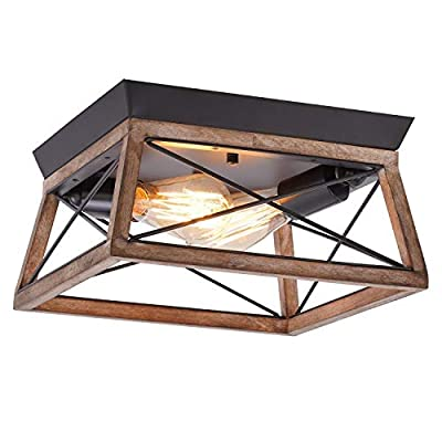 Eyassi Wooden Flush Mount Ceiling Light, 2-Lights Black Metal Farmhouse Close to Ceiling lamp Wood Industrial Lighting Fixtures for Living Room Kitchen Island Bedroom Hallway Entryway Closet Laundry