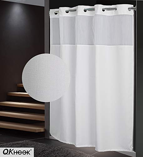 QKHOOK Plain Pattern Fabric Shower Curtain with Snap in Liner 1 Pack 71x74 Inch Water Resistant