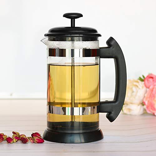 KKmoon 1000ml Aço Inoxidável Prensa Francesa Cafeteira Copo de Café Vidro Borosilicato Cafeteira Filtro de Chá Máquina de Chá Chá Perfumado Chá de Ervas Prensa Francesa