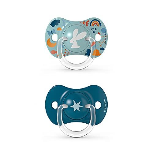 Suavinex 307363 Confezione 2 x Succhietti con Tettarella Simemtrica Sx Pro per Bambini +18 Mesi, Tettarella più Piatta e Simmetrica in Silicone Flessibile, Azzurro - 43 g