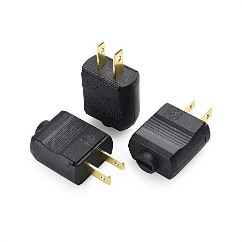 Cable Matters 3 Pack 15A 125V 2 Prong Replacement Plug (NEMA 1-15P 2-Pole / 2-Wire Polarized Replacement Plug)