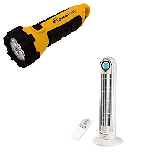 Toucan City LED Flashlight and SPT 33 in. Oscillating Tower Fan SF-1521