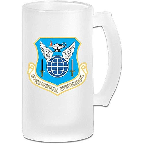 Büro der Luftwaffe für Spezialglaswaren für Riegel, bedruckt mit 16,9 oz Milchglasbierkrugschale mit Griffen, Getränkesaftglas