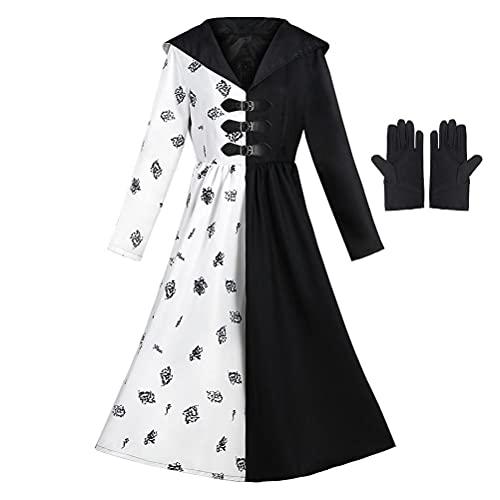 Lubudup Cruella Disfraz para mujer, vestido de disfraz con guantes, fiesta de cumpleaños, Halloween, Navidad, disfraz de cosplay