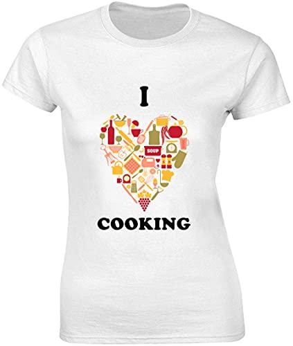 Camiseta para mujer con diseño de corazón de I Love Cooking Made of Kitchen Symbols