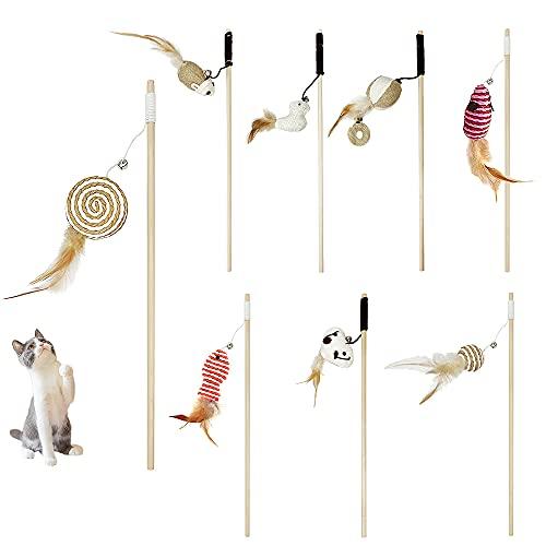 Caña Gato Plumas, ZoneYan Juguetes Gatos Interactivos, Juego Gatos Plumas, Palo de Gato Gracioso, Gatos Juguetes Plumas, Caña Gatos Juguetes, Natural de Plumas Varita Gato Juguete ( 8 Piezas )