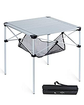 iClimb Lightweight Stable Aluminum Folding Square Table 4 People Roll Up Top with Carry Bag for Camping, Picnic, Backyards, BBQ