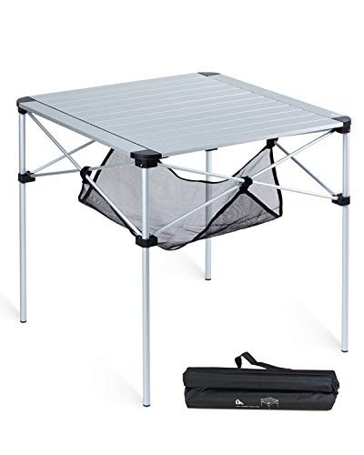 iClimb アウトドア テーブル アルミ製 キャンプ 用 折畳テーブル 4~6人用 70×70×68cm ロールテーブル アルミテーブル レジャー テーブル キャリーバッグ付属 防食性 お手入れ簡単