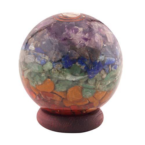 Healing Crystals India Chakra Orgone Sphere - Spiritual Reiki Healing Quartz Crystal Stones - 7 Energy Charged Orgone Sphere