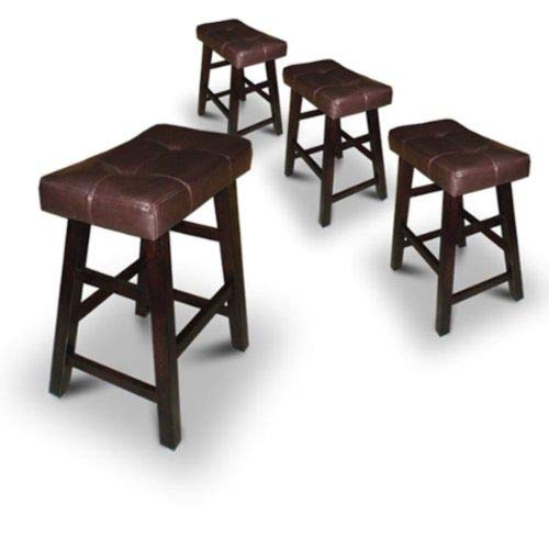 4 24' or 29' Dark Espresso Wood Bar Stools with Bonded Faux Leather Seat (29' High)