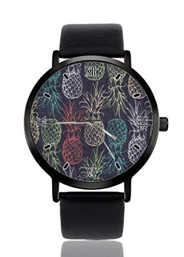Reloj de pulsera para mujer de color piña y fruta, ultrafino, extremadamente simple, analógico, pulsera para mujer, ultra fina, movimiento de cuarzo japonés