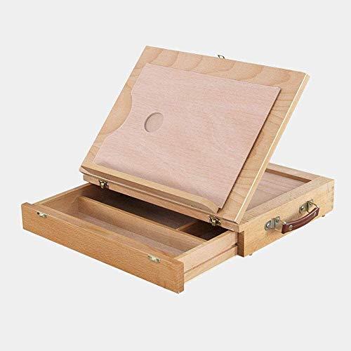 Caballetes de dibujo Mesa de almacenamiento de escritorio portátil, caballete de escritorio de madera con cajón, gabinete para banquetes con compartimentos También es un regalo para principiantes