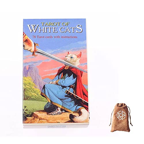 Tarot Of White Cats Cards,With Velvet Storage Bag, tarot cards deck game