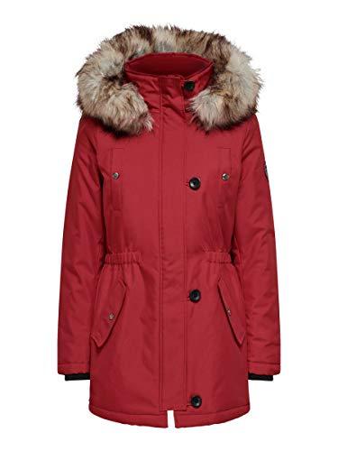 Only ONLIRIS Fur Winter Parka CC OTW Chaqueta, Rojo, Gris, S