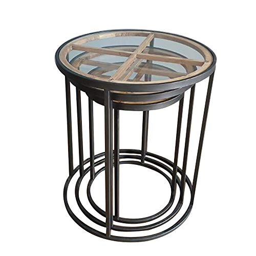 OuPai Table Nesting Coffee Table,Rattan Triangle Stacking End Side Table Living Room Round Table Nightstand for Home and Office Set of 3 for Living Room Bedroom (Color : Circle)