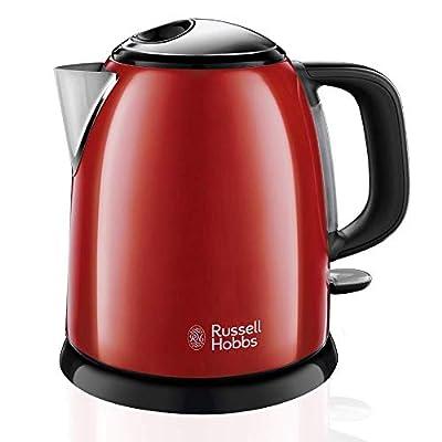Russell Hobbs 24992-70 Bouilloire Compacte 1L Colours Plus, Ebullition Rapide, Filtre Anti-Calcaire Amovible Lavable - Rouge