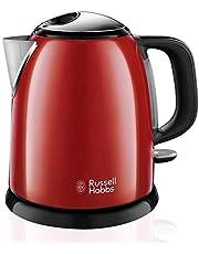 Russell Hobbs Bouilloire Compacte 1L, Ebullition Rapide, Filtre Anti-Calcaire Amovible Lavable - Rouge 24992-70 Colours Plus