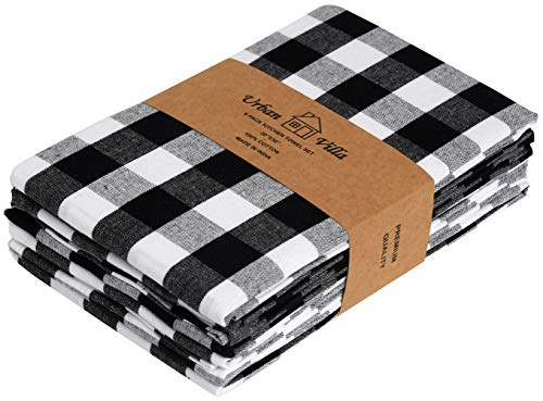 Urban Villa Set of 6 Kitchen Towels 20×30 Inch 100% Cotton Highly Absorbent Dish Towels Premium Quality Bar & Tea Towels with Mitered Corners- Black/White