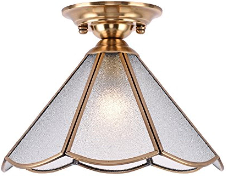 Retro Kreative Kupfer Deckenleuchte Glas Lampe Studie Lampe Flur Küche Wohnzimmer Gang Dekorative Deckenleuchte (Design   Frosted glass)