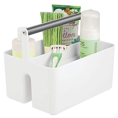 mDesign Caja organizadora para Cuarto de baño – Cesta con asa para el Almacenamiento de Productos cosméticos – Organizador de baño con 2 Compartimentos – Blanco y Gris Grafito