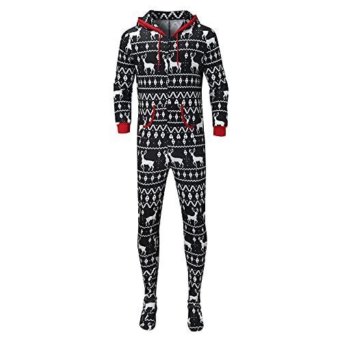 Hengyouhui Weihnachten Familie Jumpsuit Jogging Anzug Mutter Vater Kinder Baby Schlafoverall Hoodie Reißverschluss Strampler mit Kapuze Hirsche Druck Rot Hausanzug