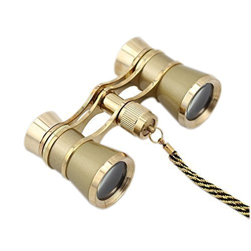 OPO Opera Theater Horse Racing Glasses Binocular Telescope Chain Necklace (Gold with Gold Trim) 3X25