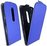 ENERGMiX Funda Flip Style para Motorola Moto G (3ª generación) en Color Azul–Funda